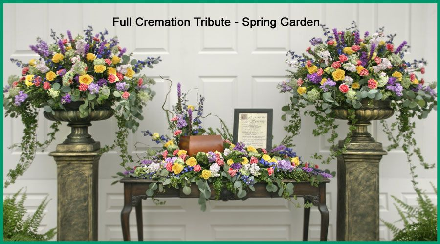 Full Cremation Tribute Spring Garden 900 499 Funeral Flower Arrangements Funeral Floral Arrangements Funeral Flowers
