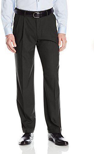 Haggar Men's Premium Stretch Solid Gabardine Expandable Waist Pleat Front Dress Pant