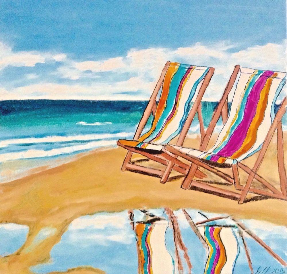 Beach art beach chair day dreaming artist gill fahey