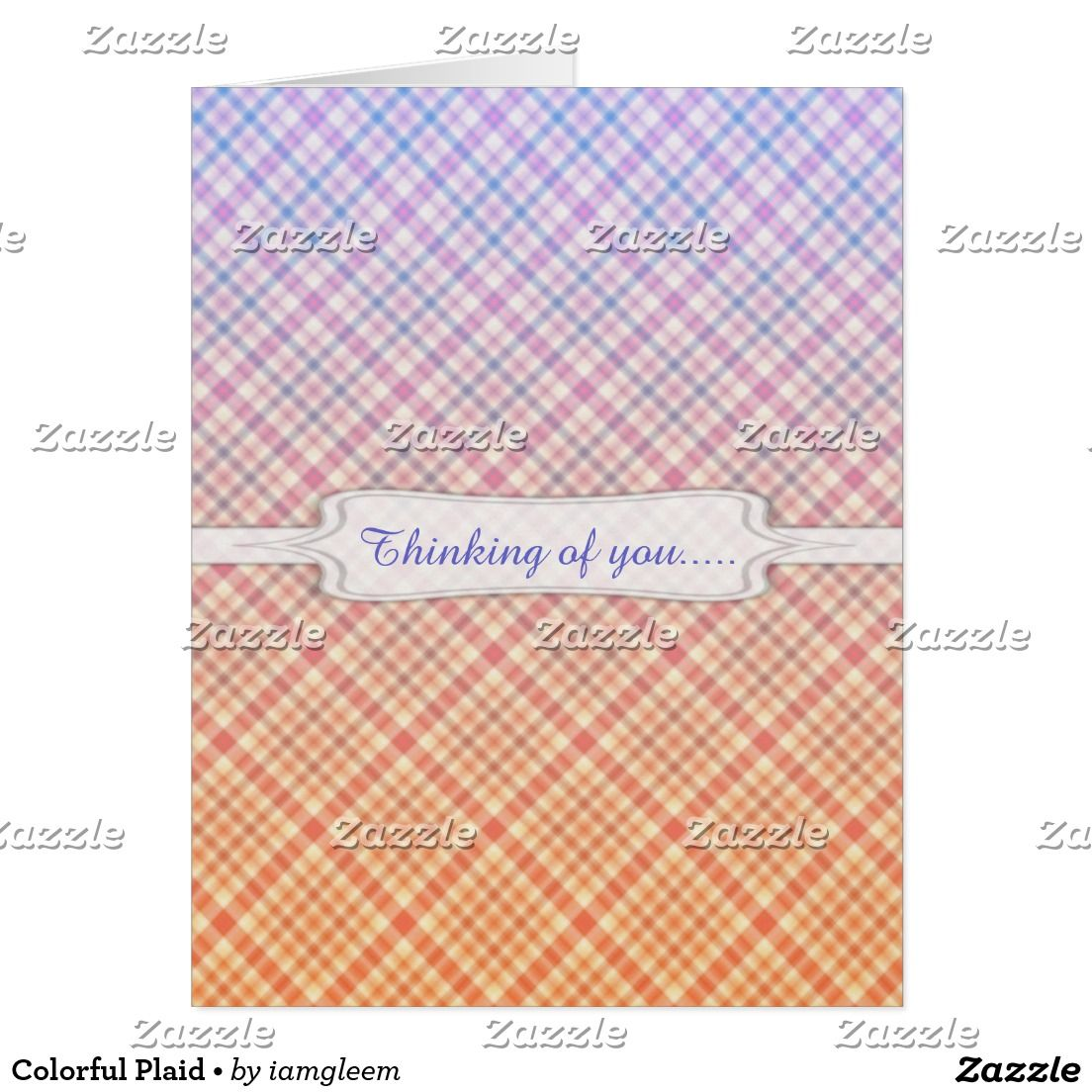 Colorful Plaid • Card • This pattern is an original design created by Gina Lee Manley ©gleem. The pattern is in a colorful, gradient plaid design. Personalize with the text that best suits your needs using the font style, size, and color of your choice.