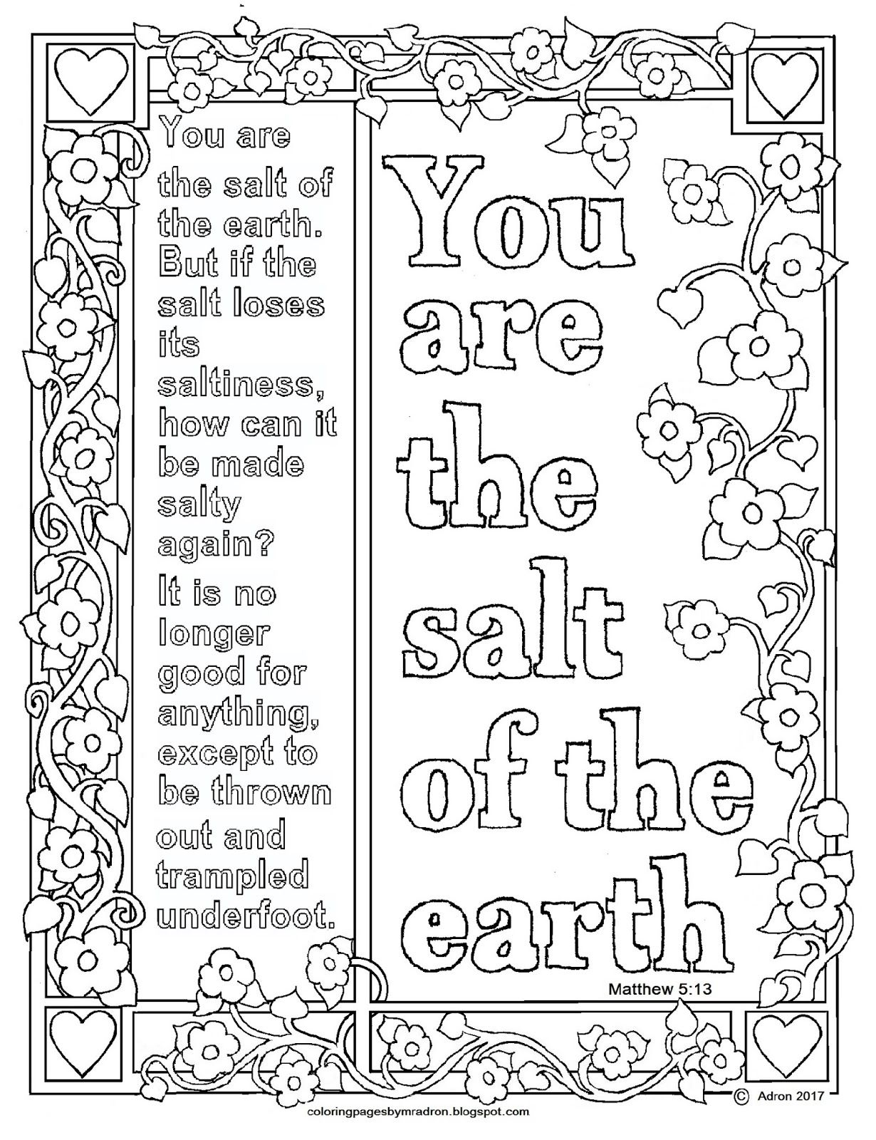 Matthew 5 13 Jpg 1 230 1 600 Pixels Coloring Pages For Kids