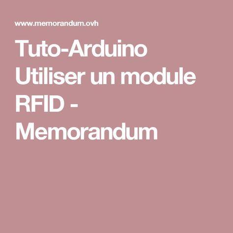 TutoArduino Utiliser Un Module Rfid  Memorandum  Electronic