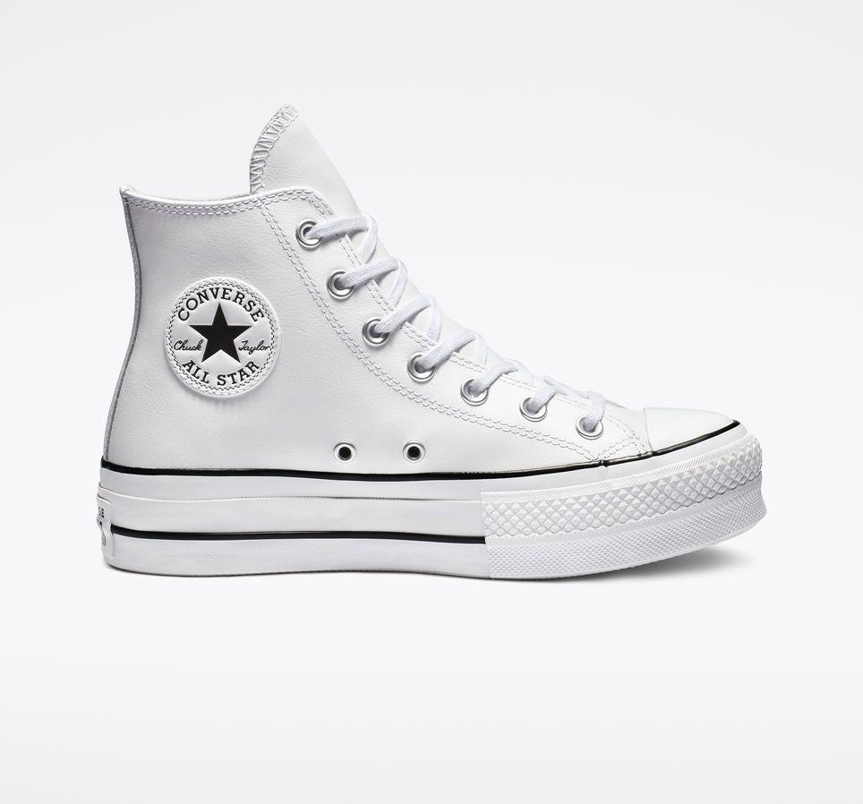 white platform converse leather