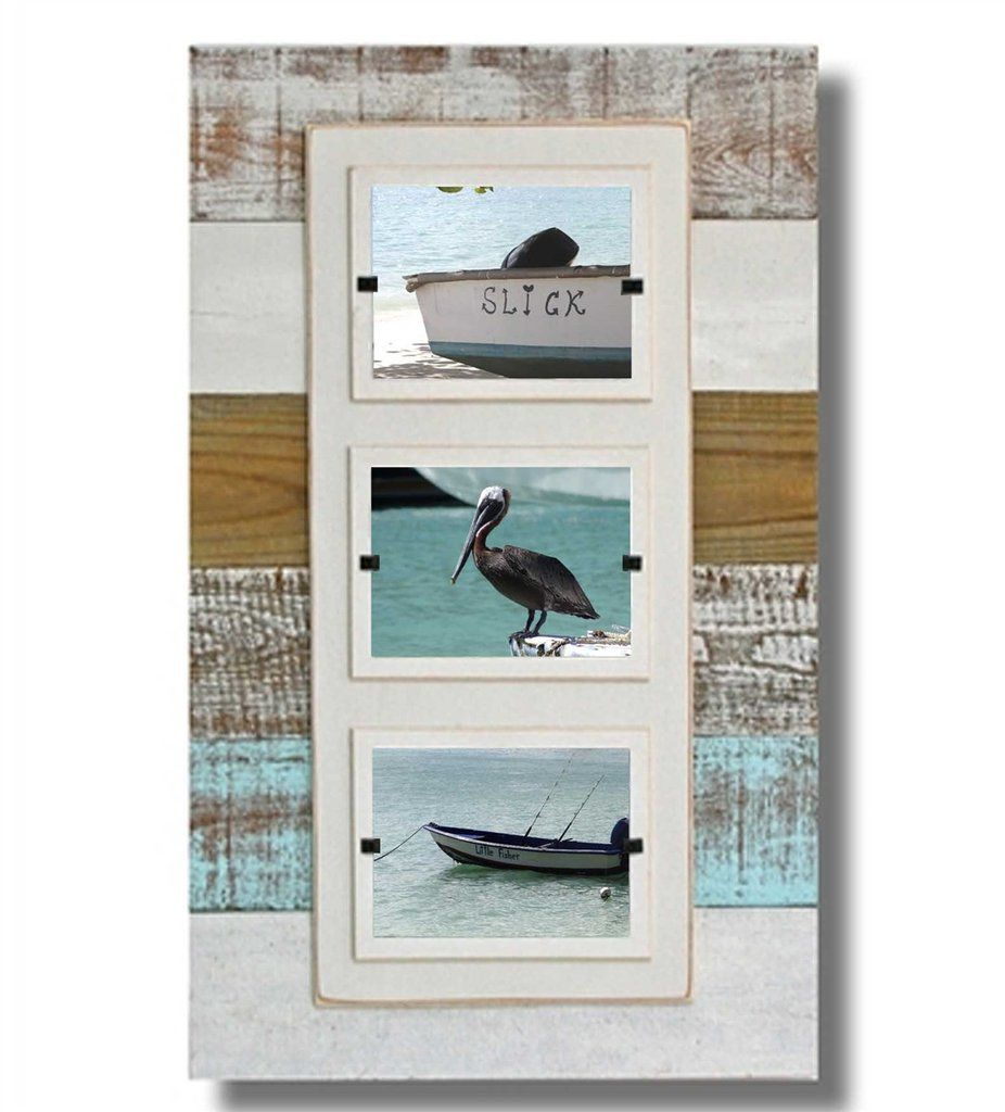 Reclaimed Wood Triple Frame Sea Mist 15 X 23 Reclaimed Wood Frames 4x6 Picture Frames Picture Frames