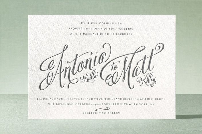 Traditional Royalty Letterpress Wedding Invitations by two thirteen studio at minted.com