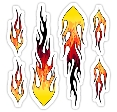 Red Hot Rod Flames On Edge Black Background Sticker By Wickedrefined Nicole Demereckis Flame Art Fire Drawing Flame Decals