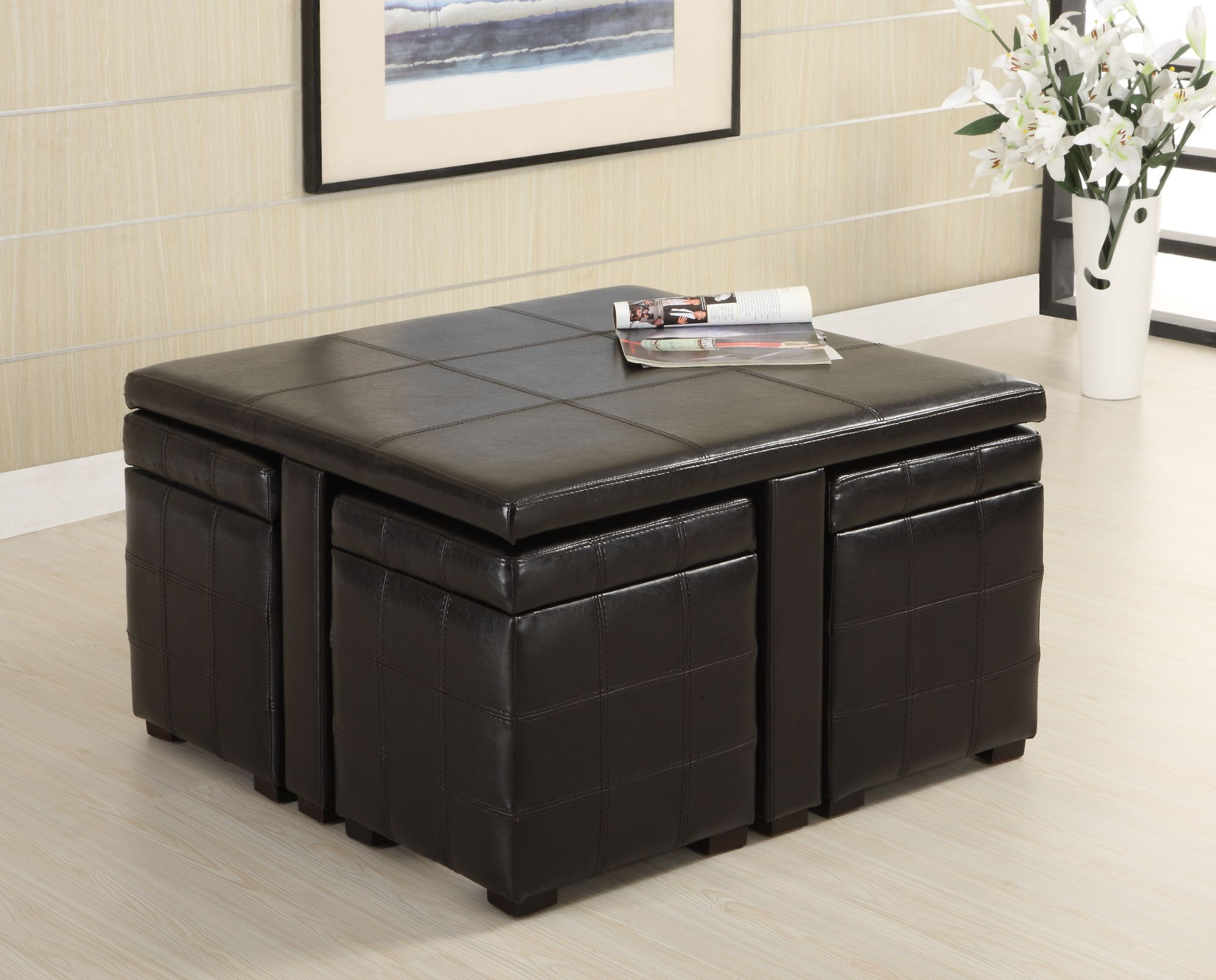 Hokku Designs Ceres Leatherette 5 Piece Coffee Table and Ottoman Set ...