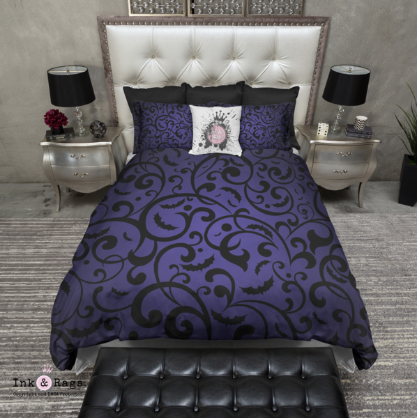 Photo of Purple Blue Bats and Dots Bedding