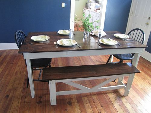 Farmhouse Table Stained Top White Legs Bench To Match Diy