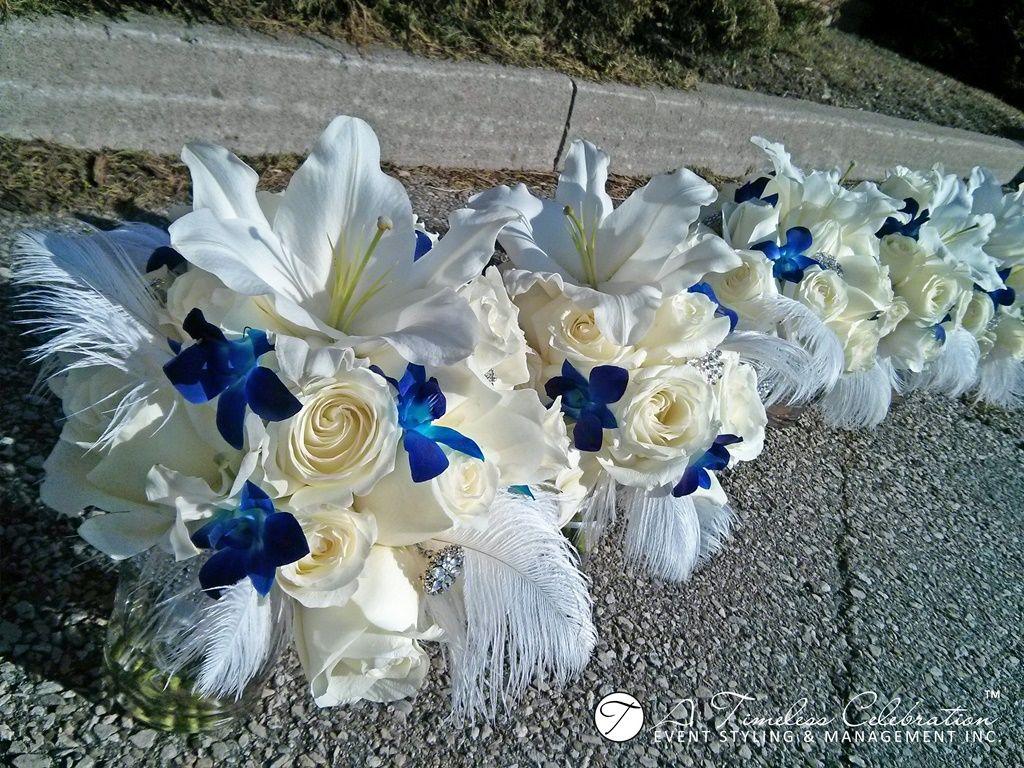 Modern wedding flower bouquet white roses u lilies blue dendrobium