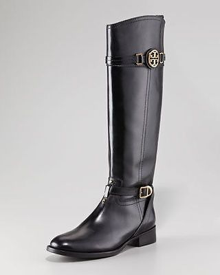 7335399b3d9a72 ... where to buy tory burch calista boots tall flat logo leather black gold  nib c52e2 50edd