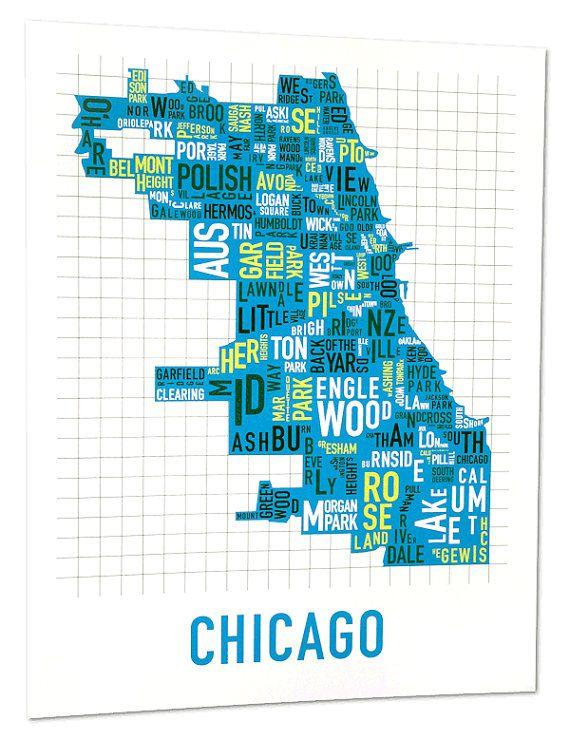 Chicago Neighborhood Map Screen Print Original Chicago - Chicago neighborhood map art