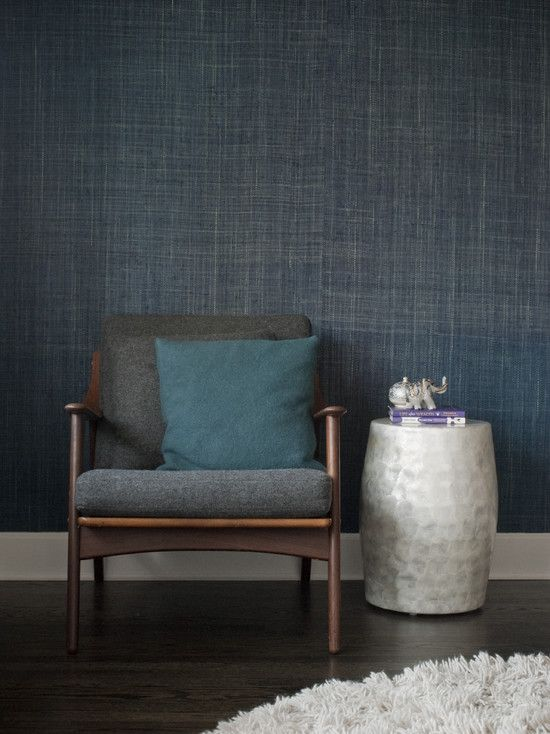 Gaile Guevara indigo grasscloth wallpaper Interiors