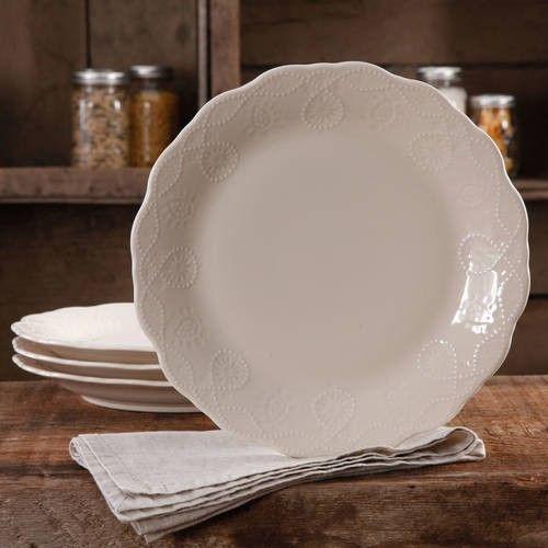 "The Pioneer Woman Farmhouse Lace 10/"" Linen Serving Bowl W"