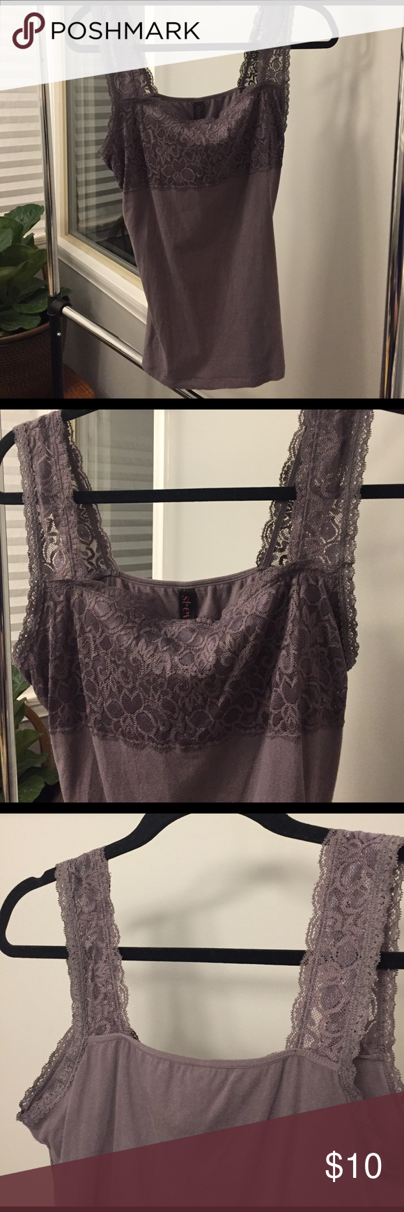Lace top cami with shelf bra Gently used lace top cami with shelf bra. It's a faded lavender color. Tops Camisoles