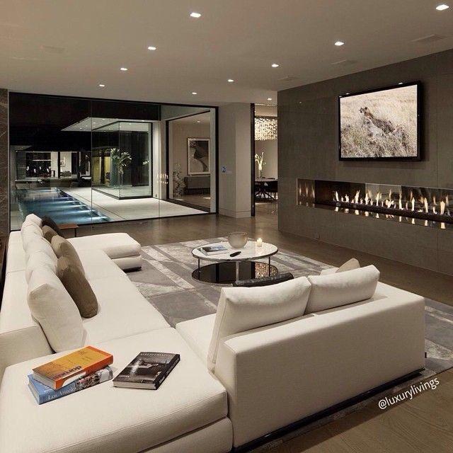 Downstairs Media Room Couch Luks Evler Modern Ic Mekanlar Ev