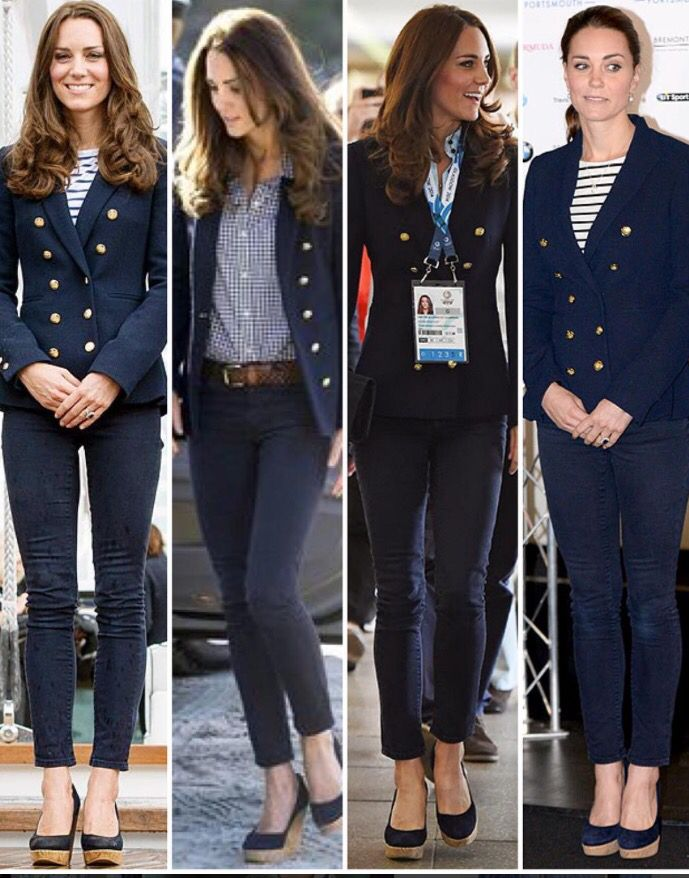 The Duchess in her navy Zara double breasted blazer originally retailing for £80/$107. 1: In Auckland, whilst on the Royal Tour of New Zealand in 2014, Kate paired her blazer with some Zara jeans, Me + Em Breton top (£48/$64) and Stuart Weitzman Corkswoon wedges as she took part in a sailing race against William (which she won both times ). 2: A couple of days later, Kate landed in Queenstown on the South Island of NZ wearing a Gap shirt underneath, the same Zara skinny jeans and wedges...