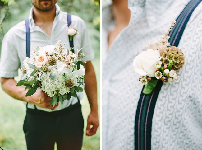 unconventional but amazing groom's attire. i love that the photographer got a shoot of the groom holding the bride's bouquet, too