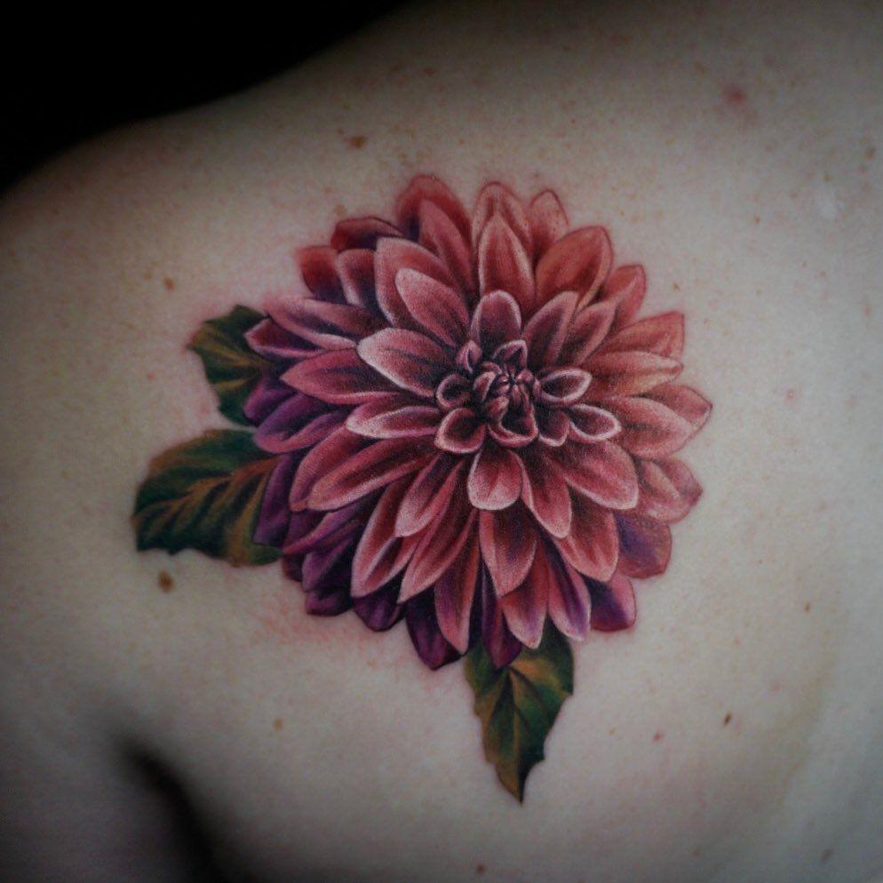 Nina Richards On Instagram Mixing It Up With A Dahlia This Week Dahlia Dahliatattoo Axysrotary In 2020 Dahlia Flower Tattoos Dahlia Tattoo Cover Up Tattoos