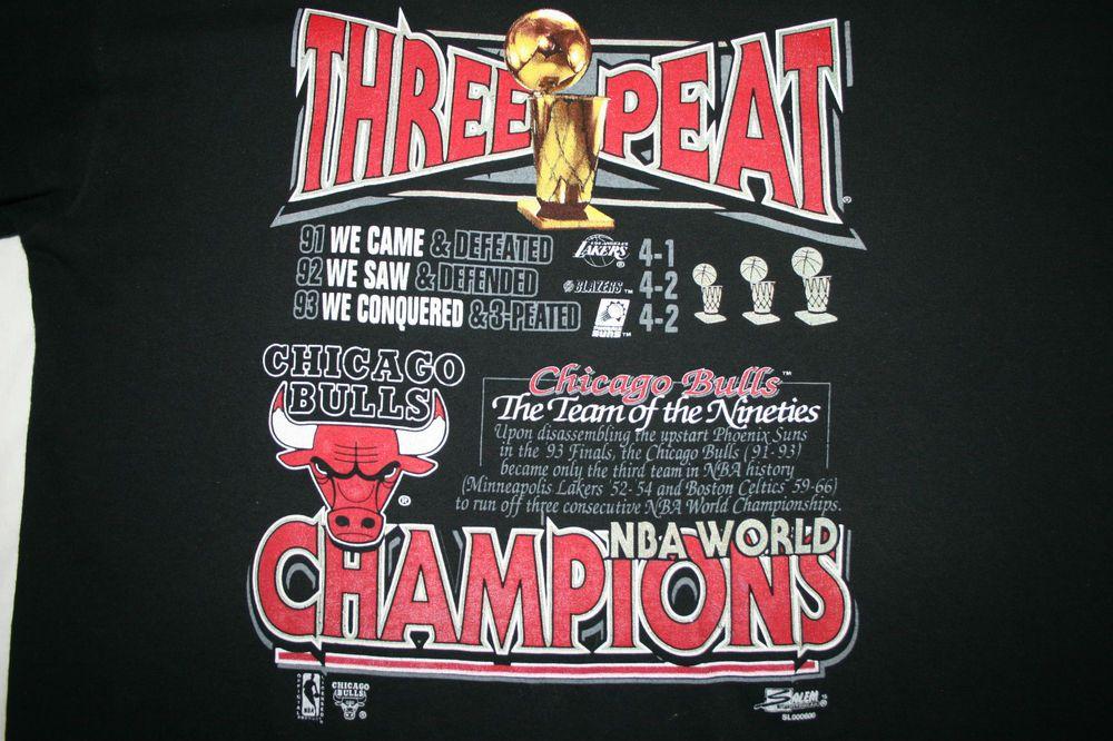 820acf703360 Vintage CHICAGO BULLS Three-Peat 1991 1992 1993 NBA Champions  T-SHIRT-2XL-Salem