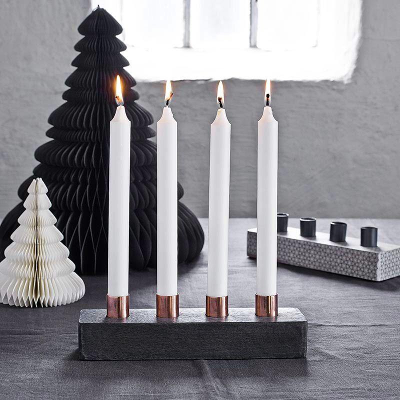 Kerzenständer Advent 4 Kerzen Holz/Kupfer black von Nordal, 27,8