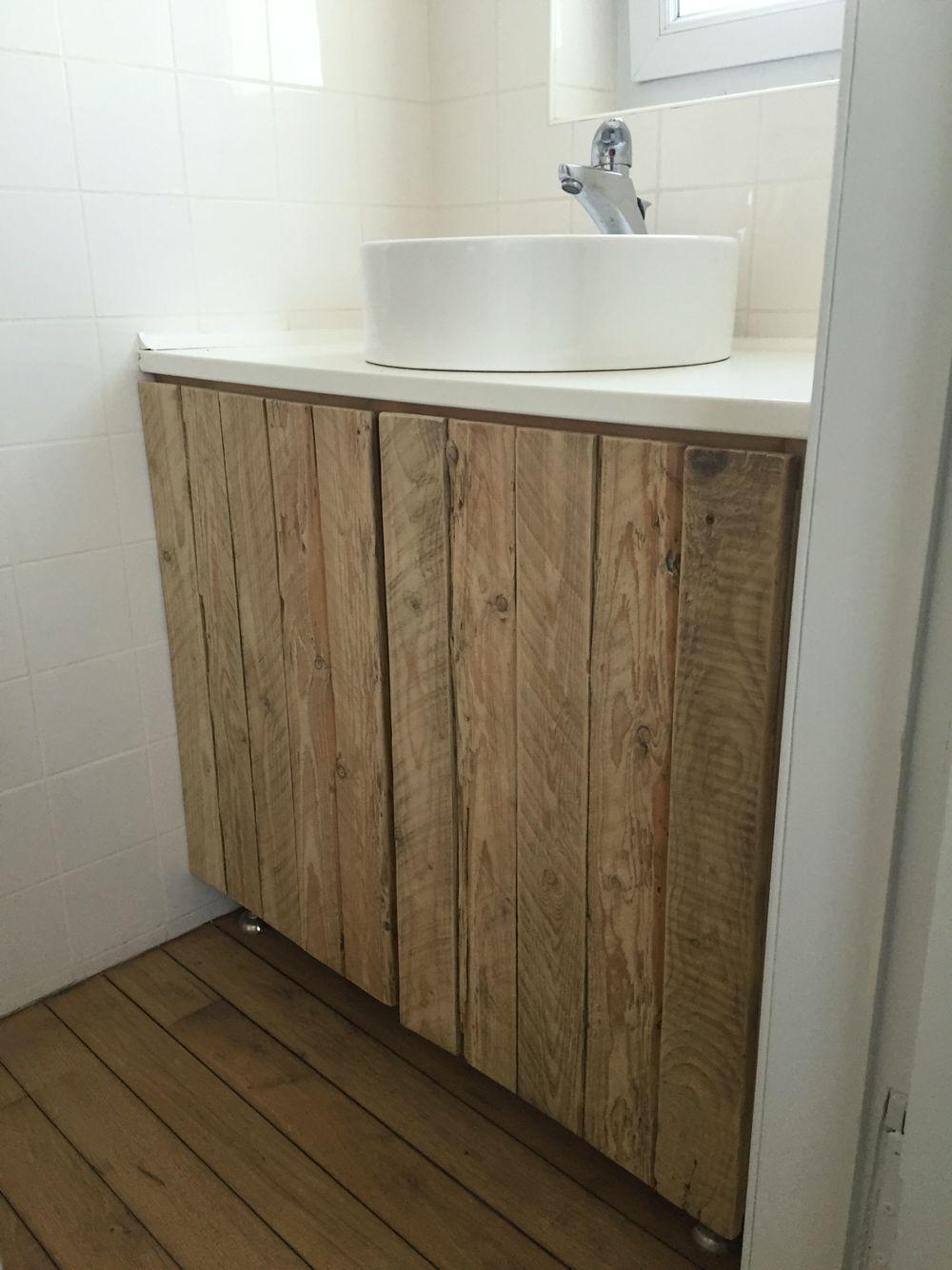 Fabriquer Meuble Salle De Bain Palette meuble salle de bain avec porte en bois de palettes (avec