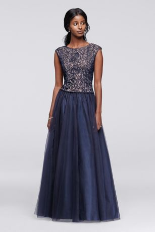 9dd0321276a Thoughtful details make this mother of the bride ball gown stunning from  the embroidered cap-sleeve bodice to the full tulle skirt. By Cachet  Polyester Back ...