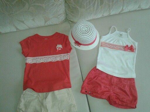 Camisetas Coral Y Puntilla