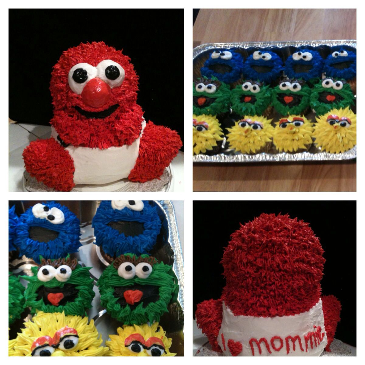 Sesame Street baby shower cake and cupcakes Baby shower