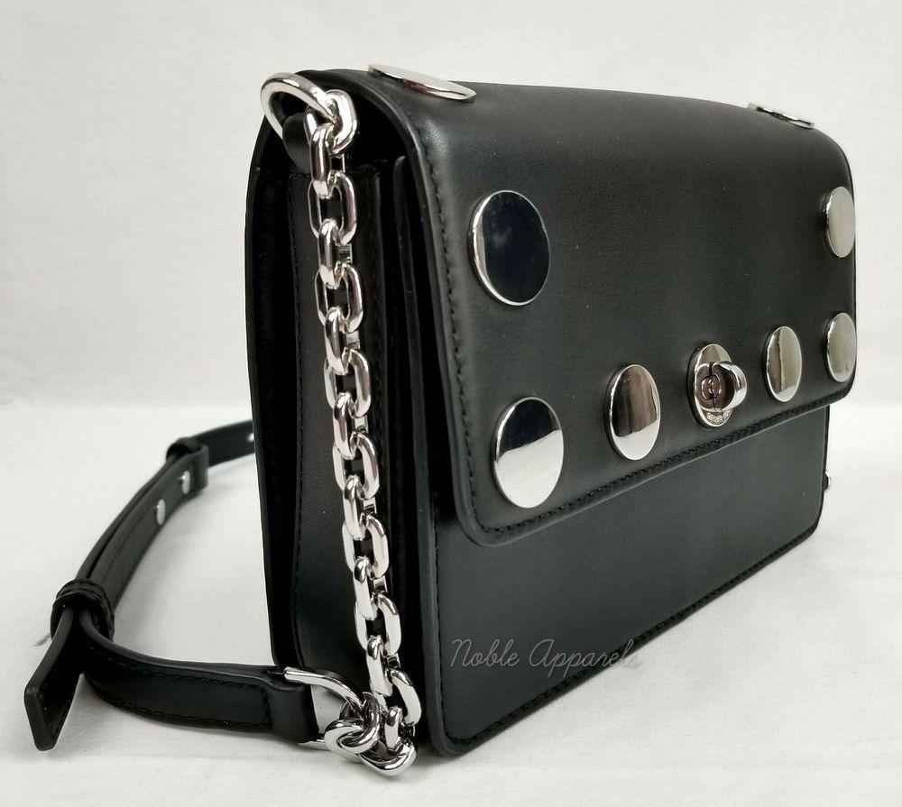 2bbcb9a640d1 Michael Kors Rivington Stud Natalie Leather Crossbody Shoulder Bag Black |  eBay