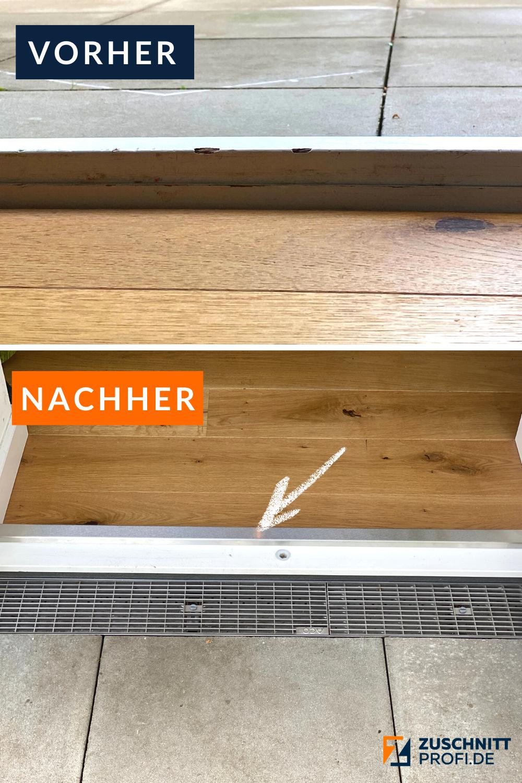 Zum Schutz vor Kratzern oder Druckbelastung der Schwellen von Haustüren, Fenstertüren und Nebeneingangstüren eignet sich ein gekantetes Edelstahlblech ideal. Denn es ist günstig und schnell anzubringen, ohne Werkzeug. Auch ist Edelstahl nicht nur modern, sondern auch robust & langlebig. Miss Deine benötigten Maße und wir machen den Rest -  bekomme Deine Metallzuschnitte millimetergenau nach Hause geschickt. Dein Team von zuschnittprofi.de |vorher nachher |Renovieren |#zuschnittprofi