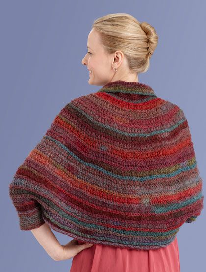 Free Crochet Pattern L10716 Round Yoke Poncho Lion Brand Yarn