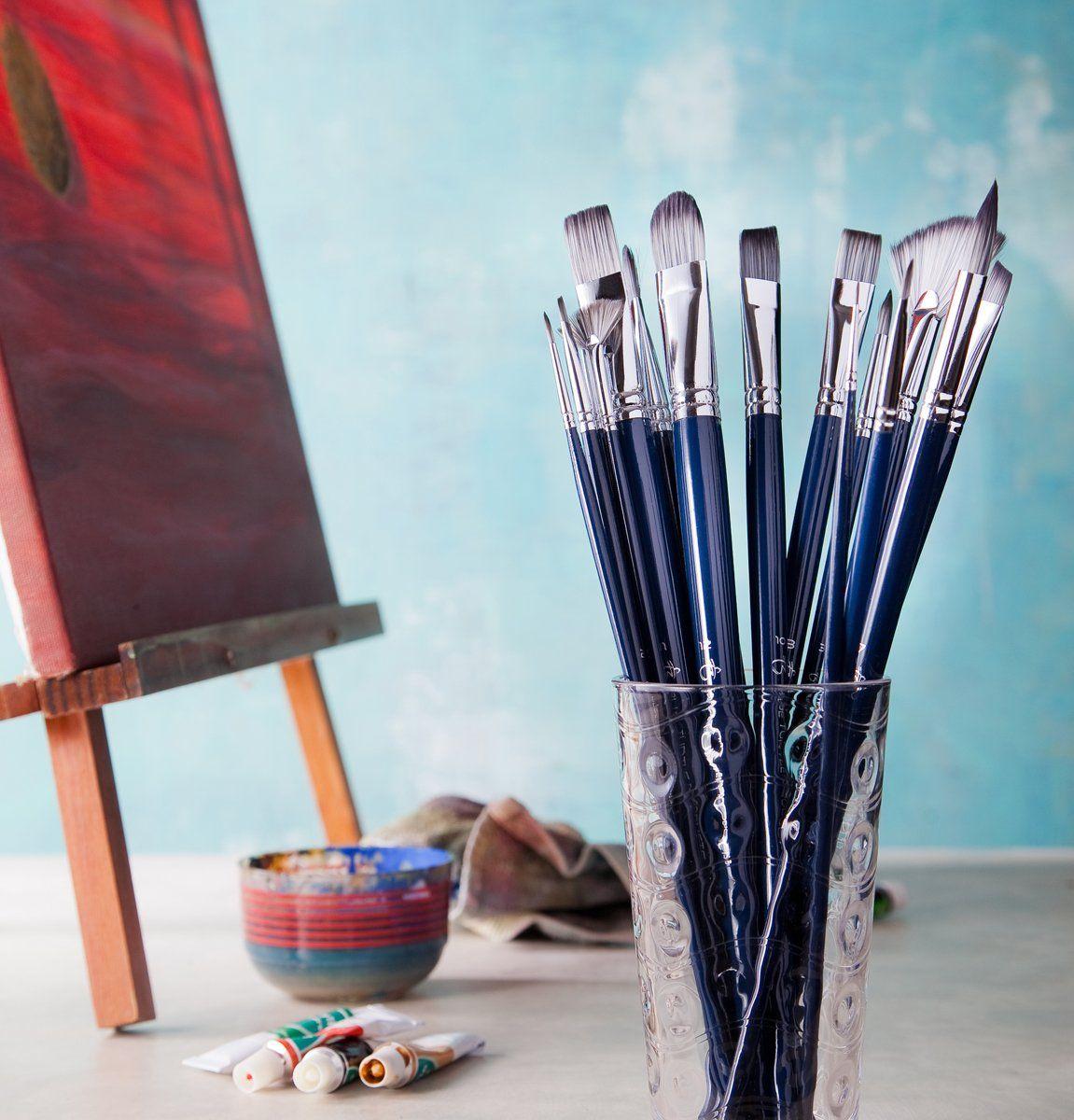 Blue turtle products 16 piece artist paint brush set for