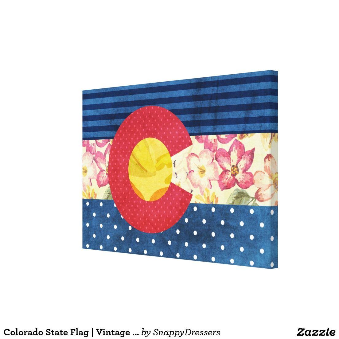 Colorado State Flag | Vintage Shabby Chic Canvas Print