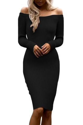 8f051035490 Robes Pull Tricot Noir Manches Longues Moulante Mi Longue  RobePull pas cher