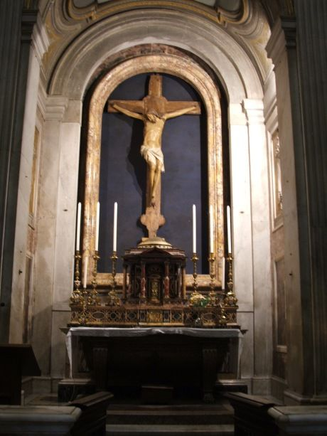 This is the medieval crucifix in a chapel inside the Church of St. Paul Outside…