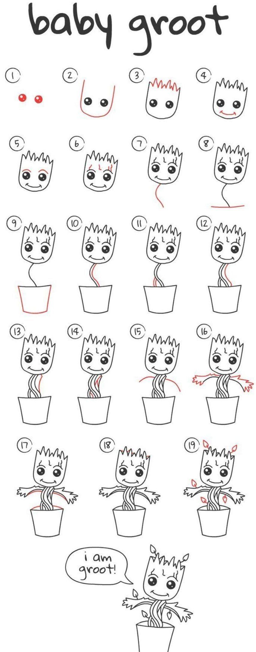Drawing Designs Comment Dessiner Bebe Groot Dessin Facile Etape Par Etape Parfait Comment Designs Dessin Dessin Groot Dessins Faciles Mini Dessin