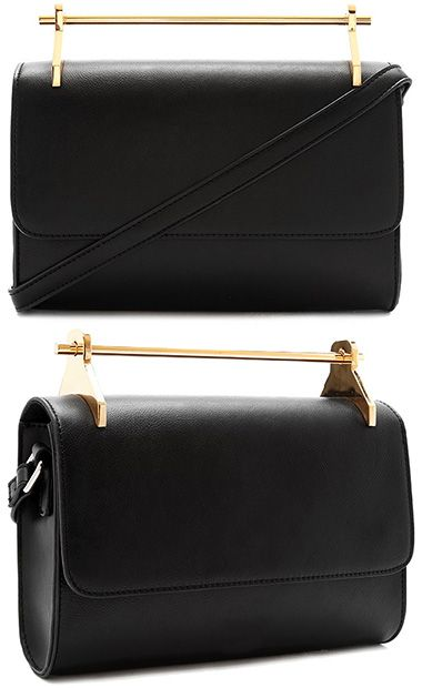 Forever 21 Metal Bar Top Handle Faux Leather Crossbody Bag in black and  gold 2274bb3f8bd0d
