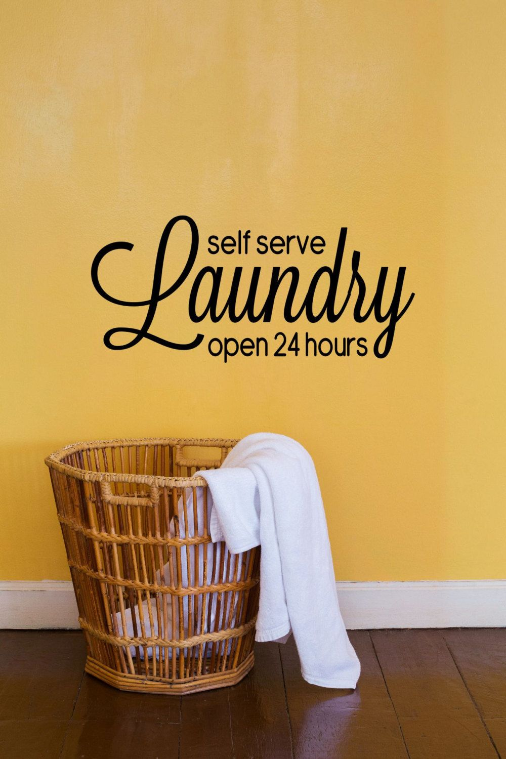 Self Serve Laundry Open 24 Hours Vinyl Decal - Laundry Wall Decal ...