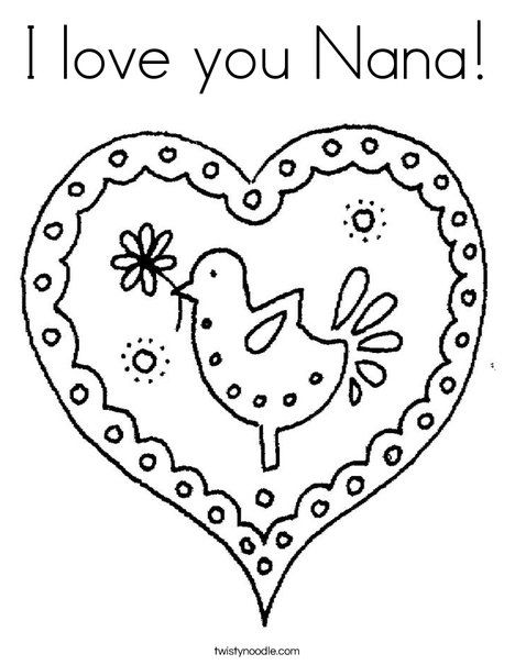 I love you Nana Coloring Page - Cursive - Twisty Noodle Mothers - new christmas coloring pages for grandparents