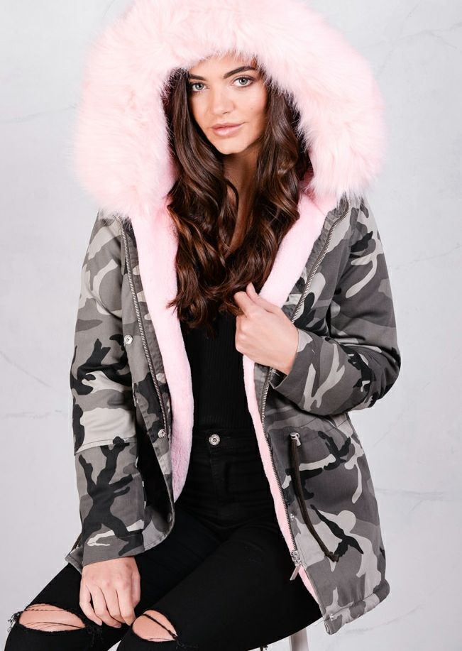 15bd09e59 Pink Faux Fur Hooded Padded Parka Camo Khaki Coat Green in 2019 ...