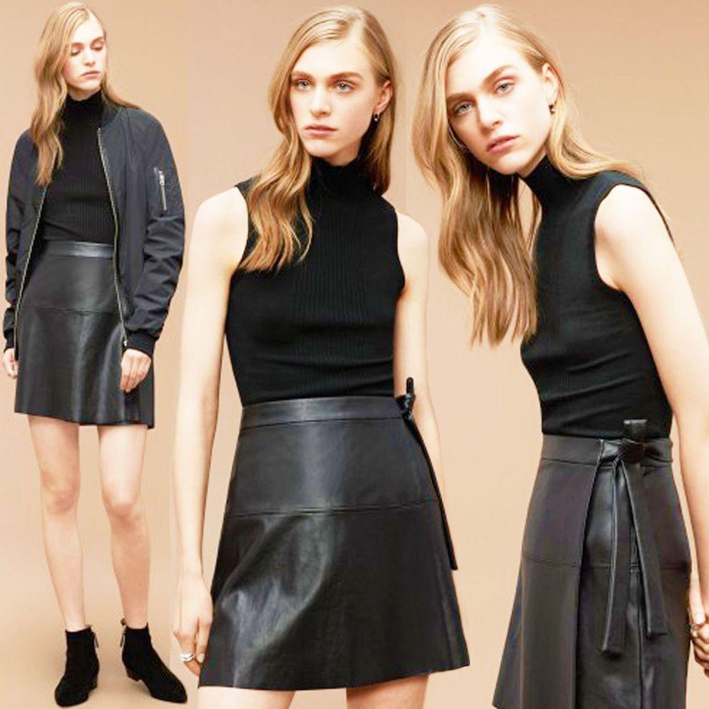 dd7bea9b37 Aritzia WILFRED Free Spurlock Faux Leather Wrap Skirt Black High Waist Tie  S #Wilfred #ALine #Casual