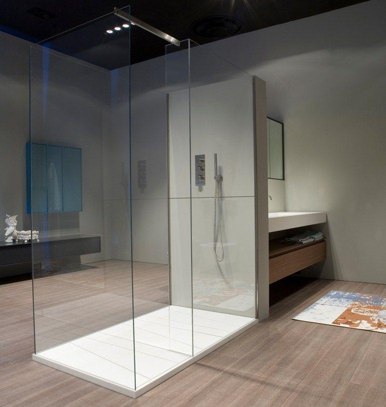 Box doccia in vetro temperato con piatto PENISOLA by