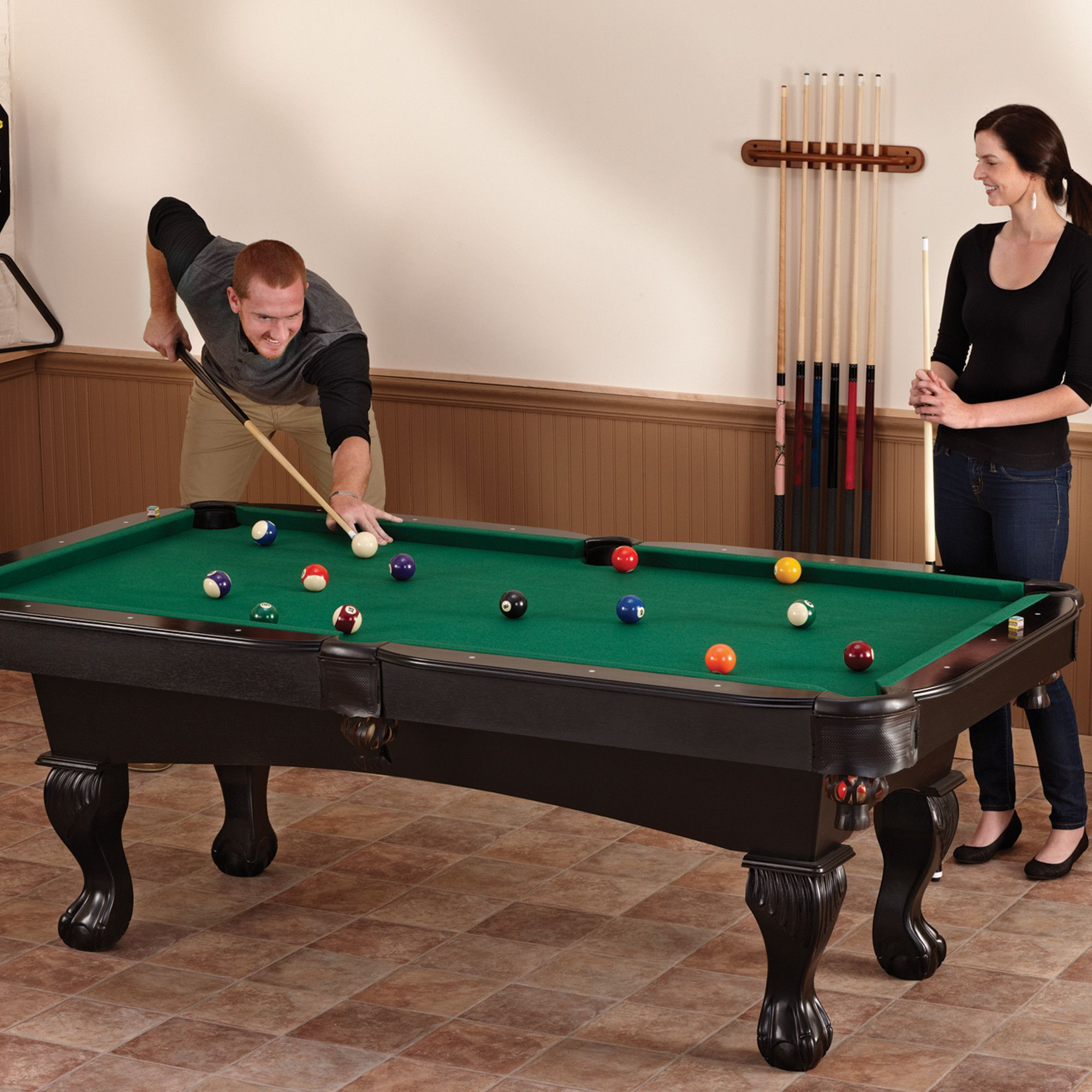Kansas 7 Ft Pool Table With Ball And Claw Legs  Fat Cat