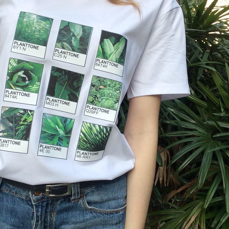 f4311dbf itGirl Shop D PLANTTONE PLANTS LEAF COLORS PRINT COTTON T-SHIRT Aesthetic  Apparel, Tumblr Clothes, Soft Grunge, Pastel goth, Harajuku fashion.