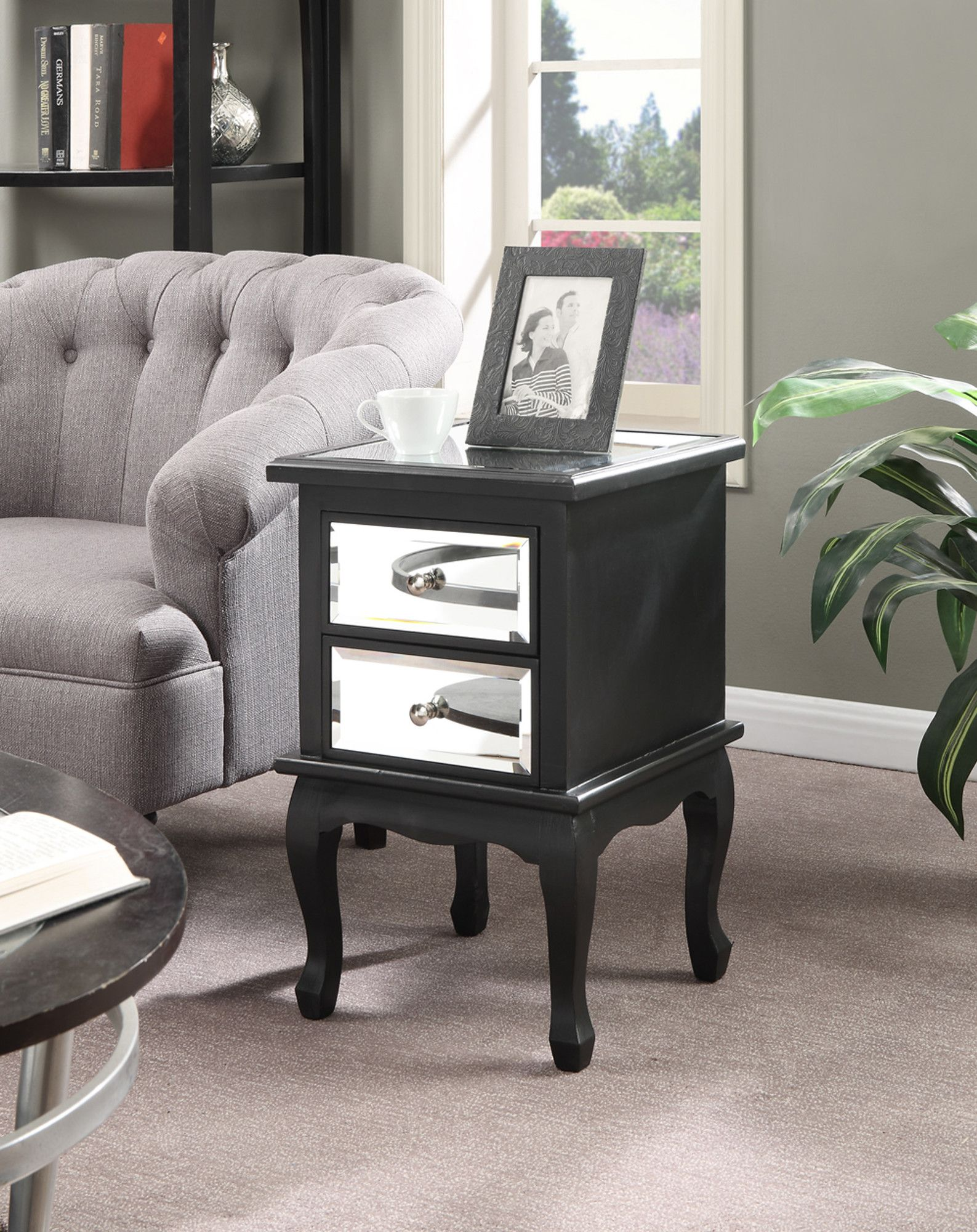 Mirrored Bedside Table With Drawers: Halstead 2 Drawer Mirrored End Table