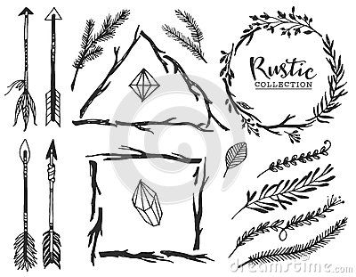 Rustic Decorative Elements With Arrow And Lettering Stock Vector