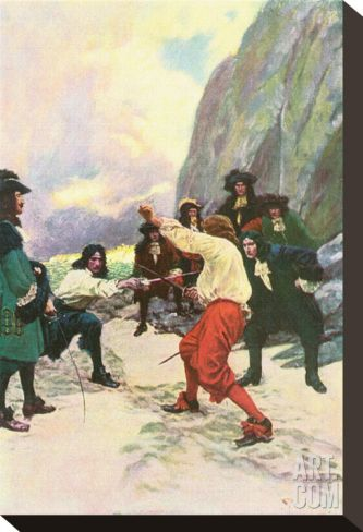 Theirs Was A Spirited Encounter Upon The Beach of Teviot Bay Stretched Canvas Print by Howard Pyle at Art.com