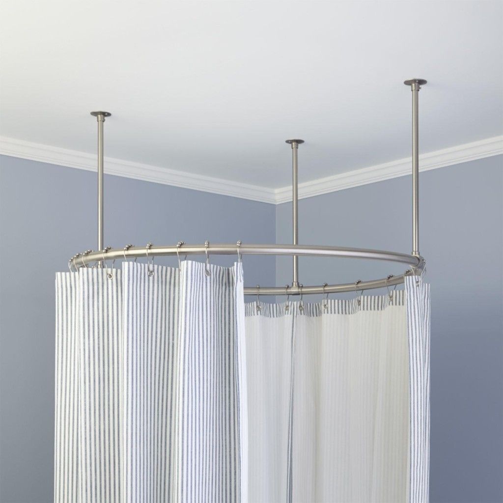 round shower curtain rod for clawfoot tub John Pinterest