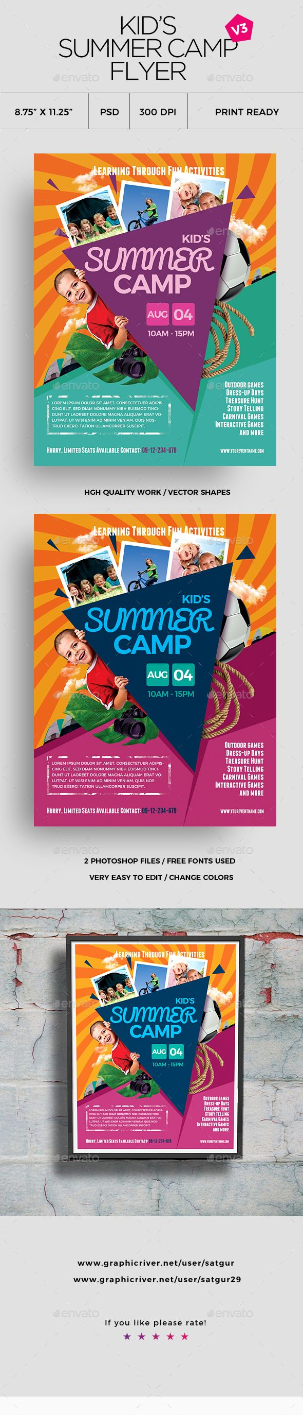 Kids Summer camp Flyer V3 | Photoshop, Camping and Flyer template